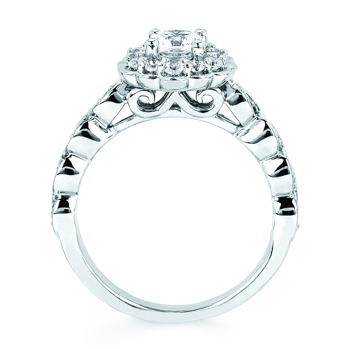 14k White Gold Engagement Set Image 5  ,