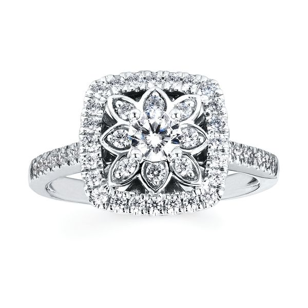 14k White Gold Engagement Set Image 3 Barnes Jewelers Goldsboro, NC