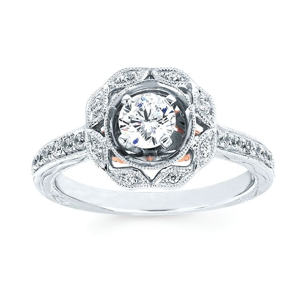 14k White And Rose Gold Engagement Set Image 3 Arthur's Jewelry Bedford, VA