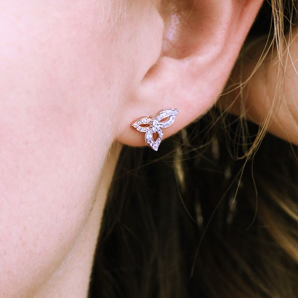 14k White And Rose Gold Earrings Image 2  ,