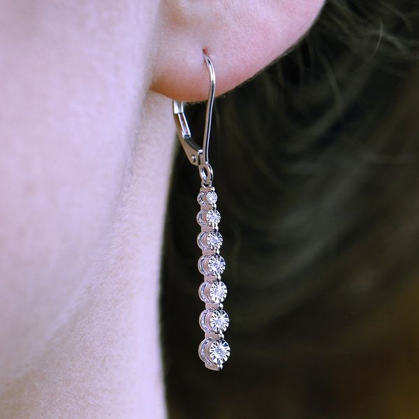 14k White Gold Earrings Image 2  ,