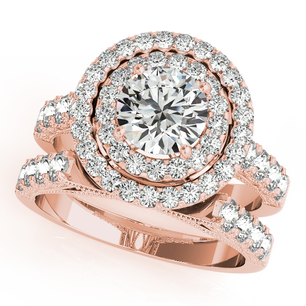 10k Rose Gold Round Halo Engagement Ring 50424 E 2 10kr Clater