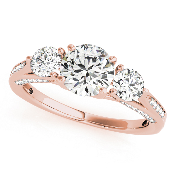 10k Rose Gold Three Stone Round Engagement Ring 50477 E 10kr Jones Jeweler Celina Oh