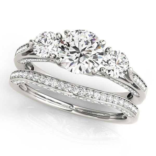 18K White Gold Three-Stone Round Engagement Ring Image 3  ,