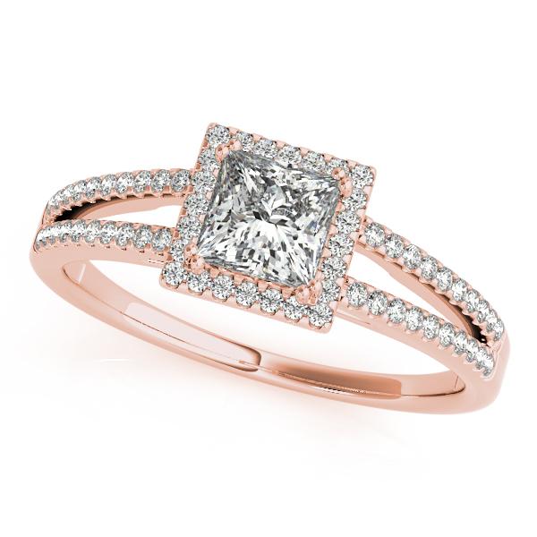 18k Rose Gold Halo Engagement Ring 50549 E 1 3 18kr Parkers Karat