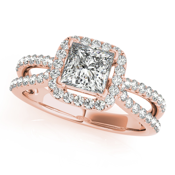 18K Rose Gold Halo Engagement Ring Atlanta West Jewelry Douglasville, GA
