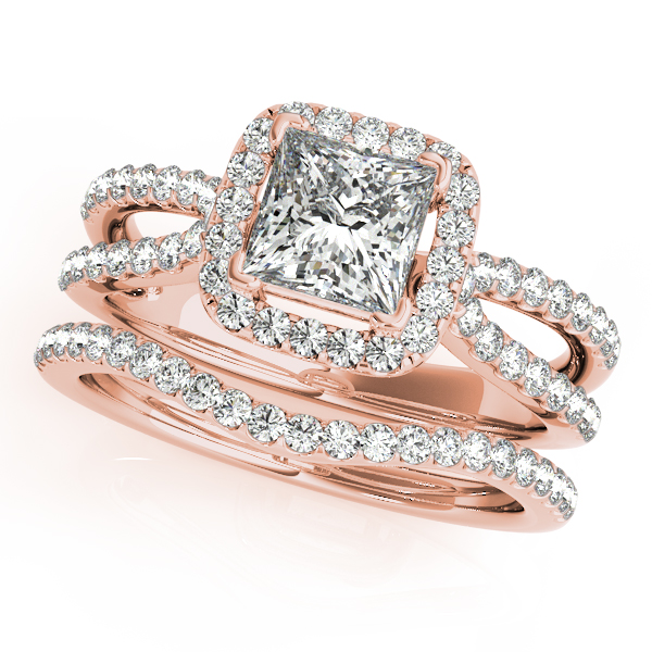 Rose Gold Wedding Ring.10k Rose Gold Halo Engagement Ring