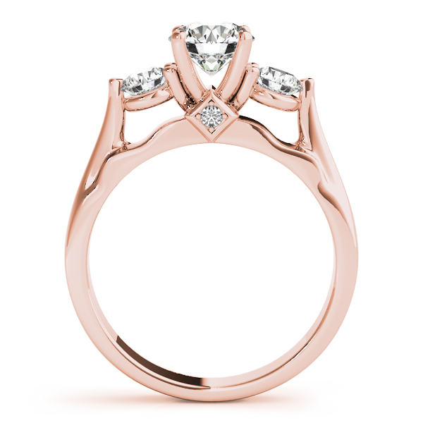 18K Rose Gold Three-Stone Round Engagement Ring Image 2 Atlanta West Jewelry Douglasville, GA