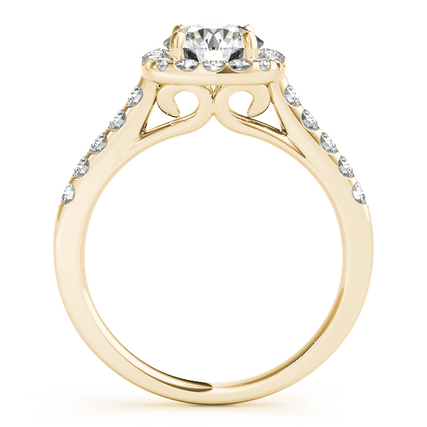 18K Yellow Gold Cushion Halo Engagement Ring Image 2 Atlanta West Jewelry Douglasville, GA