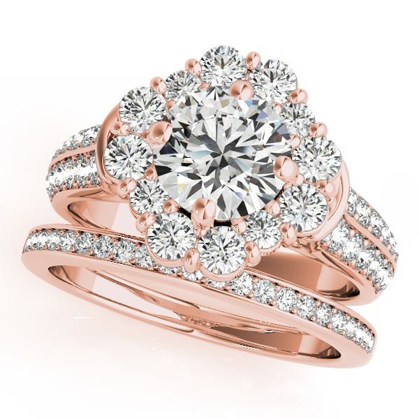 18K Rose Gold Round Halo Engagement Ring Image 3 Atlanta West Jewelry Douglasville, GA