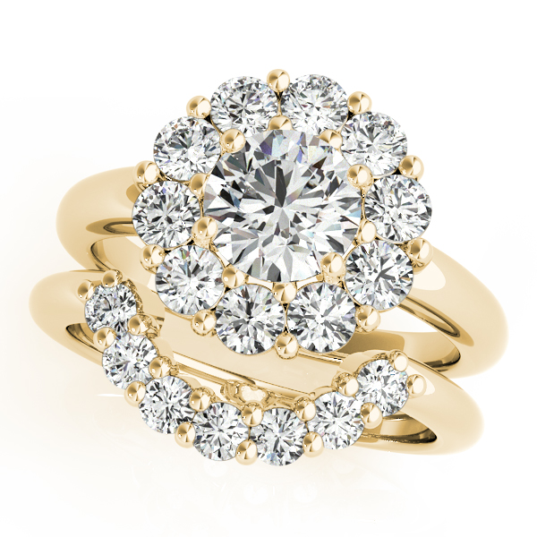 18K Yellow Gold Round Halo Engagement Ring Image 3 Atlanta West Jewelry Douglasville, GA