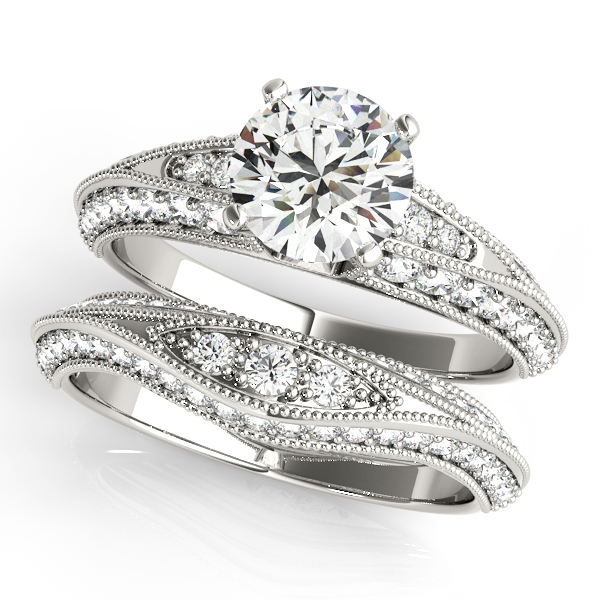 18K White Gold Multi-Row Engagement Ring Image 3  ,