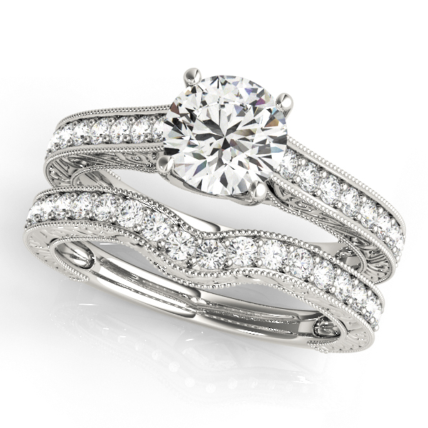 18K White Gold Trellis Engagement Ring Image 3  ,