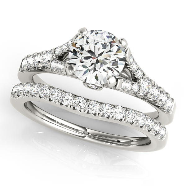 18K White Gold Single Row Prong Engagement Ring Image 3  ,