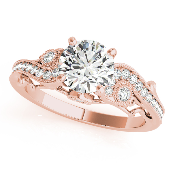 Rose Gold Wedding Ring.14k Rose Gold Antique Engagement Ring