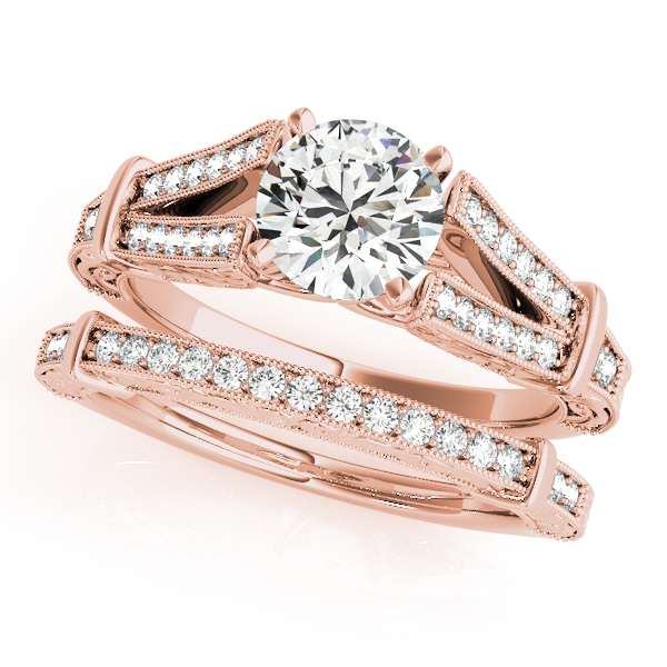 18K Rose Gold Multi-Row Engagement Ring Image 3  ,