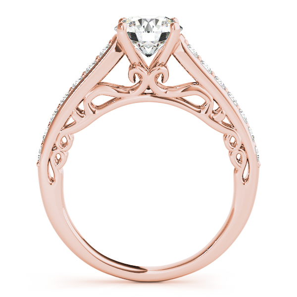 18K Rose Gold Single Row Prong Engagement Ring Image 2  ,