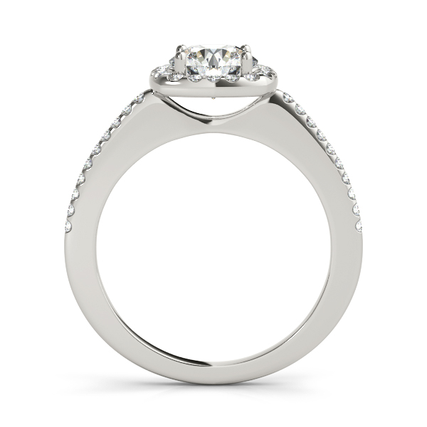 14K White Gold Round Halo Engagement Ring Image 2  ,