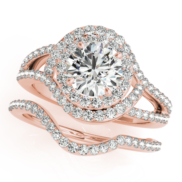 18K Rose Gold Round Halo Engagement Ring Image 3  ,
