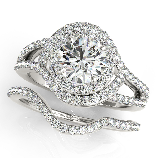 14K White Gold Round Halo Engagement Ring Image 3  ,
