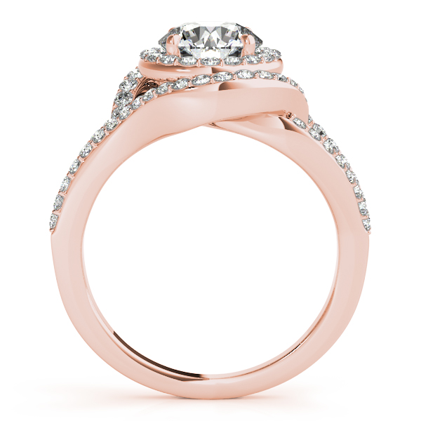 18K Rose Gold Round Halo Engagement Ring Image 2  ,