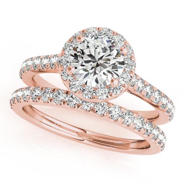 Engagement Rings - 18K Rose Gold Round Halo Engagement Ring - image  3 501071f36