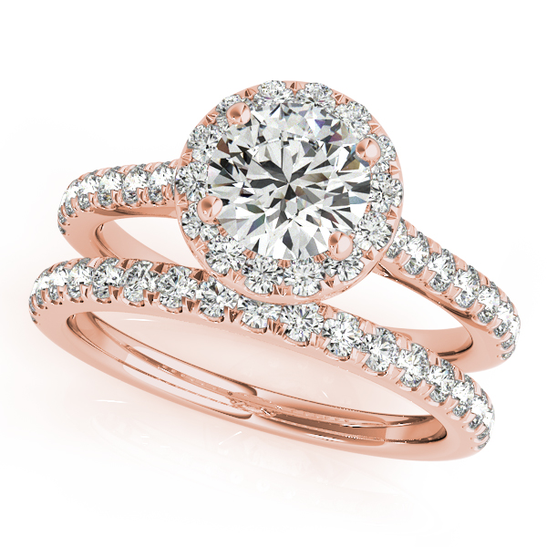 14K Rose Gold Round Halo Engagement Ring Image 3 Douglas Diamonds Faribault, MN
