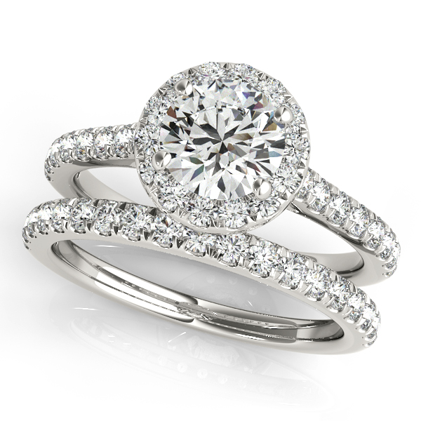 10K White Gold Round Halo Engagement Ring Image 3 Douglas Diamonds Faribault, MN