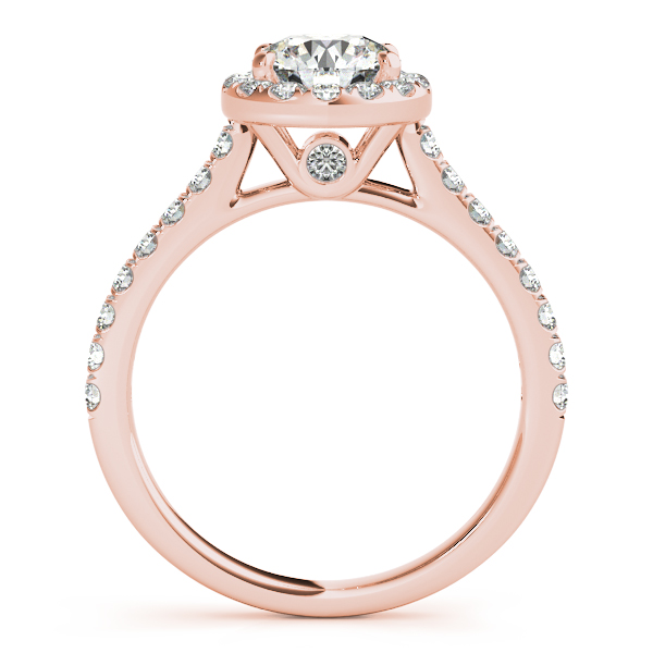 10K Rose Gold Round Halo Engagement Ring Image 2  ,