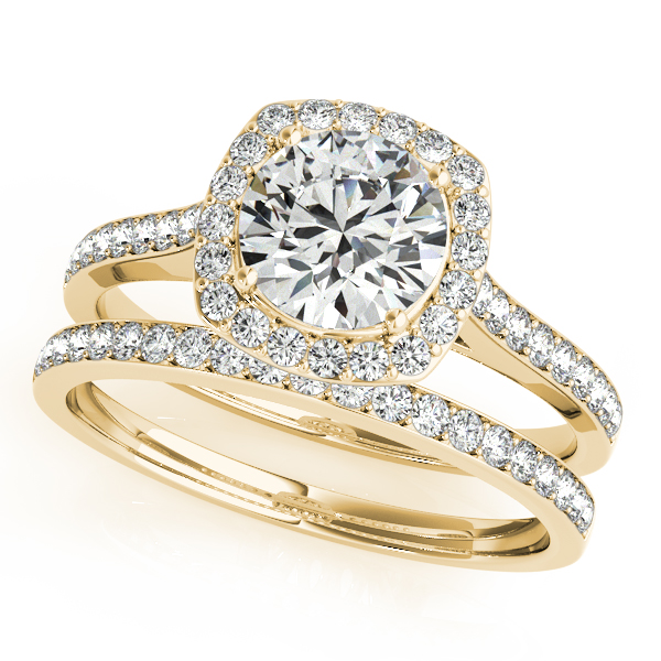 10K Yellow Gold Round Halo Engagement Ring Image 3 Douglas Diamonds Faribault, MN