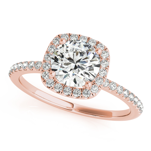 Rose Gold Wedding Ring.10k Rose Gold Round Halo Engagement Ring