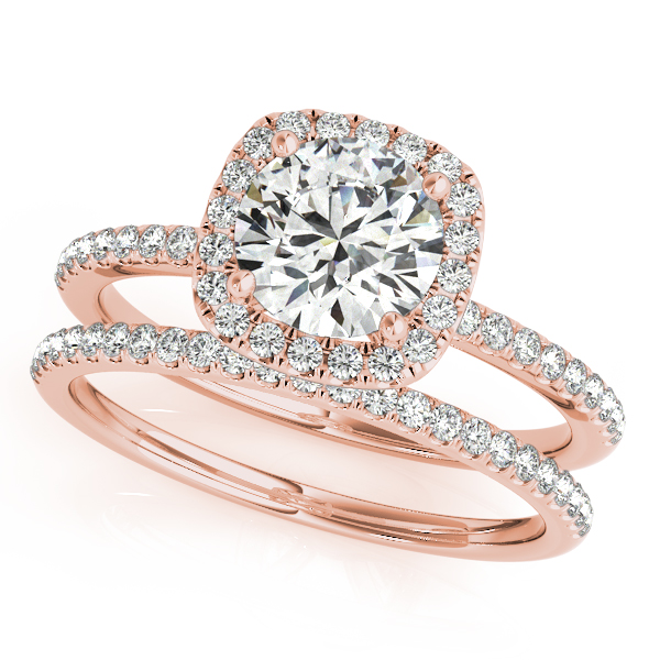 14K Rose Gold Round Halo Engagement Ring Image 3  ,