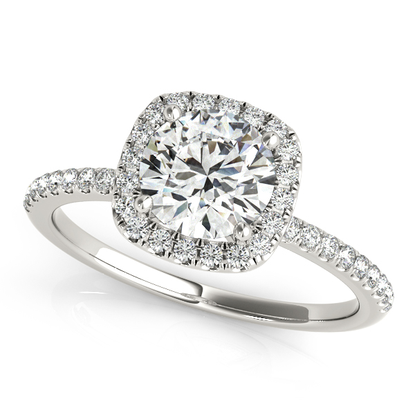 18K White Gold Round Halo Engagement Ring Douglas Diamonds Faribault, MN