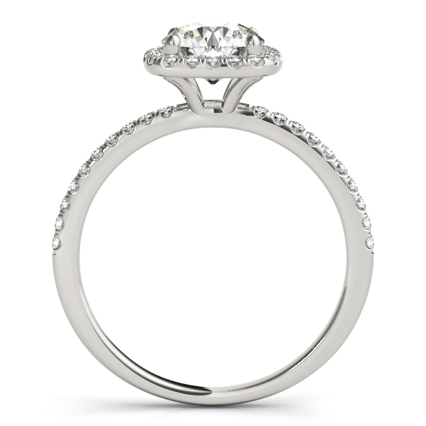 14K White Gold Round Halo Engagement Ring Image 2 Malak Jewelers Charlotte, NC
