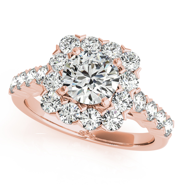 14K Rose Gold Round Halo Engagement Ring Douglas Diamonds Faribault, MN
