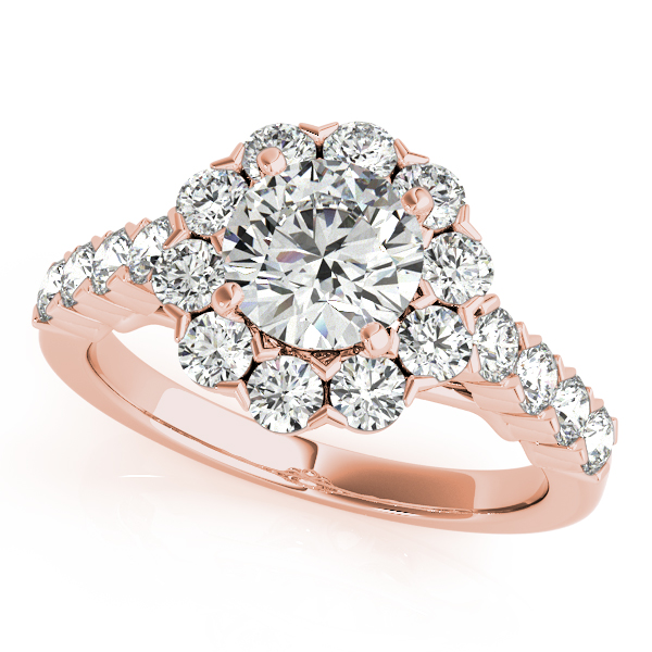 18K Rose Gold Round Halo Engagement Ring Atlanta West Jewelry Douglasville, GA