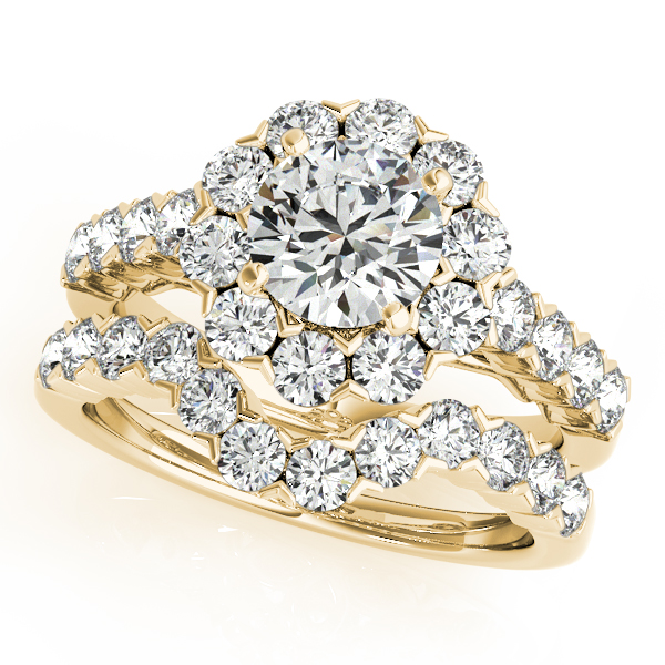 14K Yellow Gold Round Halo Engagement Ring Image 3 Atlanta West Jewelry Douglasville, GA