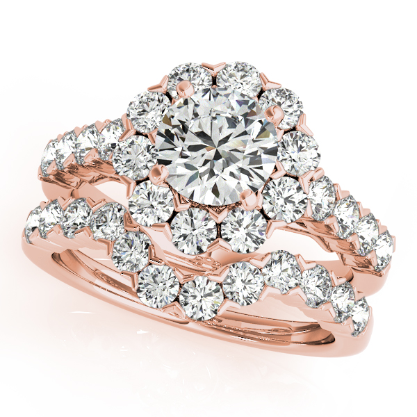 10K Rose Gold Round Halo Engagement Ring Image 3 Douglas Diamonds Faribault, MN