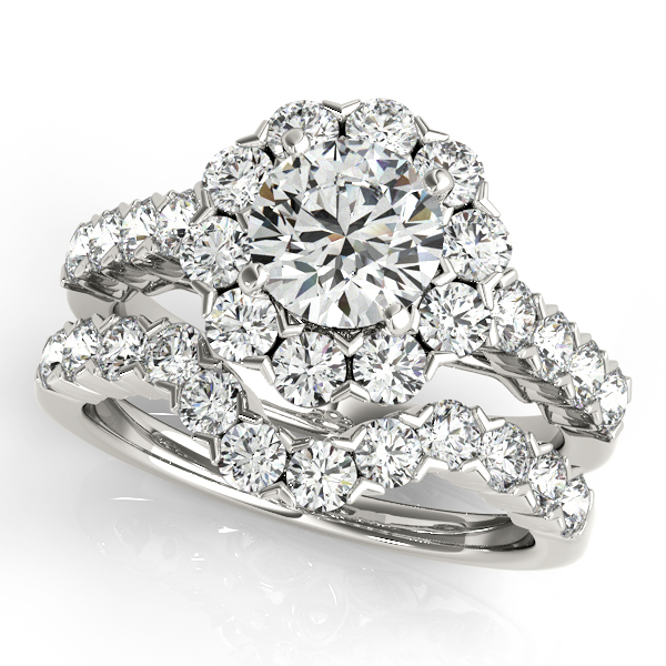 14K White Gold Round Halo Engagement Ring Image 3 Atlanta West Jewelry Douglasville, GA