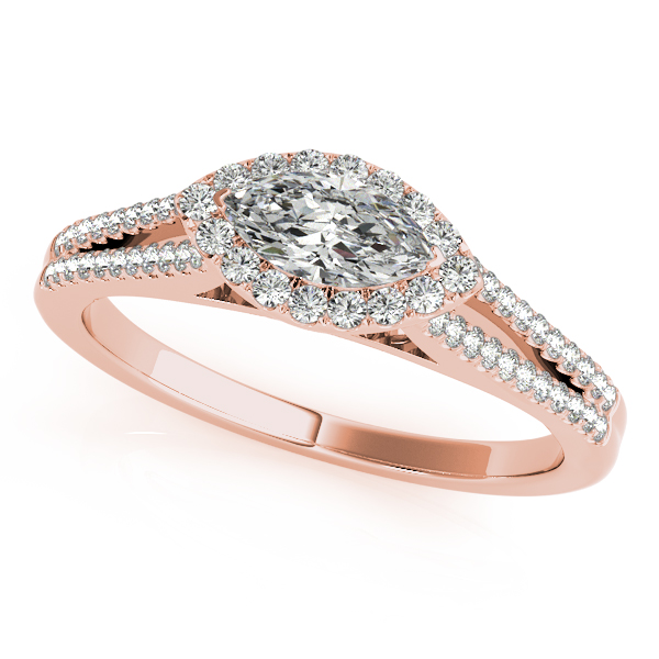 18K Rose Gold Halo Engagement Ring Douglas Diamonds Faribault, MN