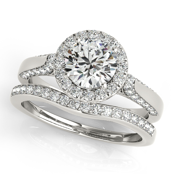 Platinum Round Halo Engagement Ring Image 3  ,