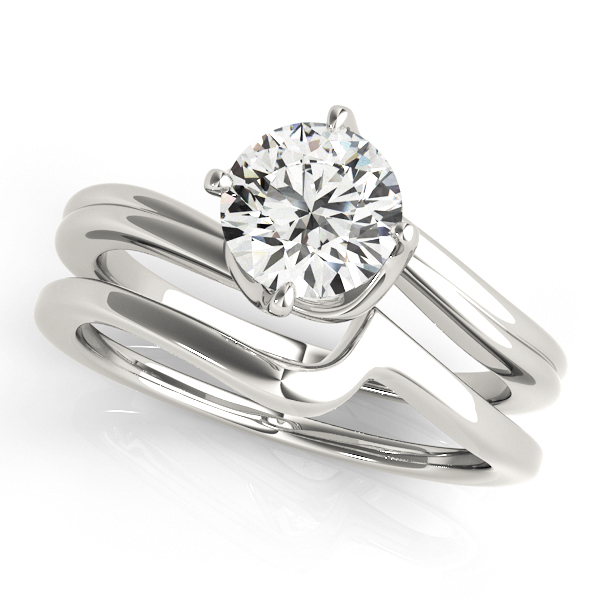 18K White Gold Round Solitaire Engagement Ring Image 3  ,