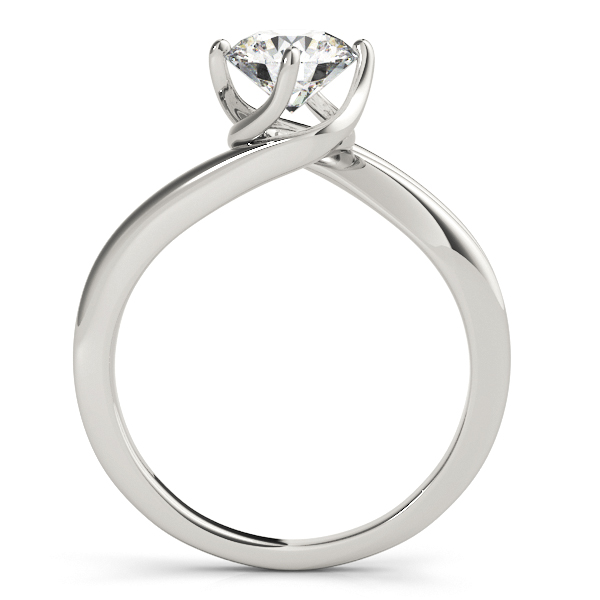 14K White Gold Round Solitaire Engagement Ring Image 2  ,