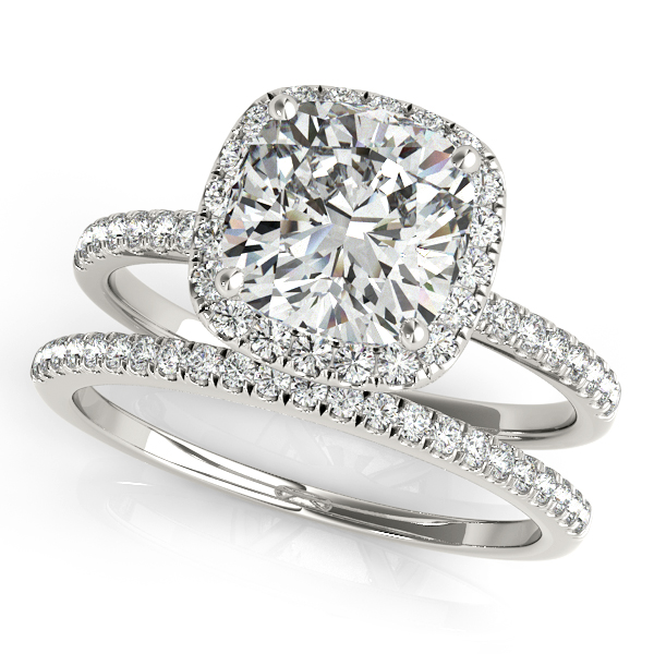 18K White Gold Halo Engagement Ring Image 3 Douglas Diamonds Faribault, MN