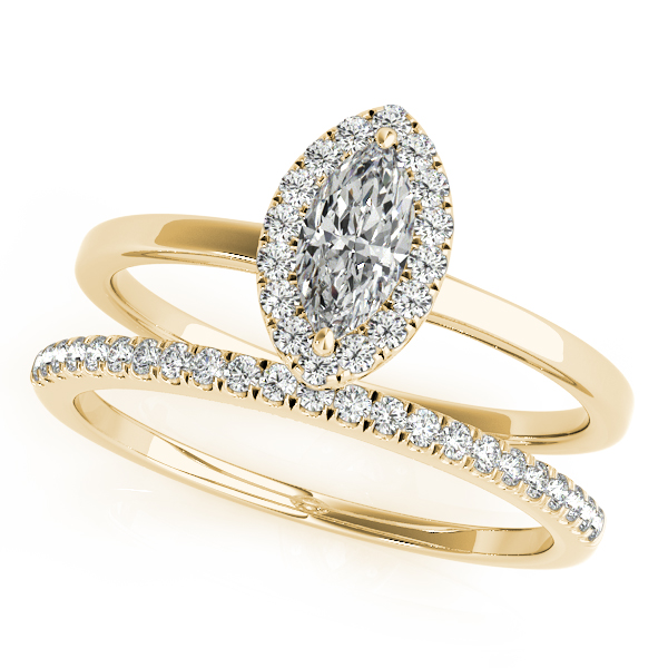 18K Yellow Gold Halo Engagement Ring Image 3  ,