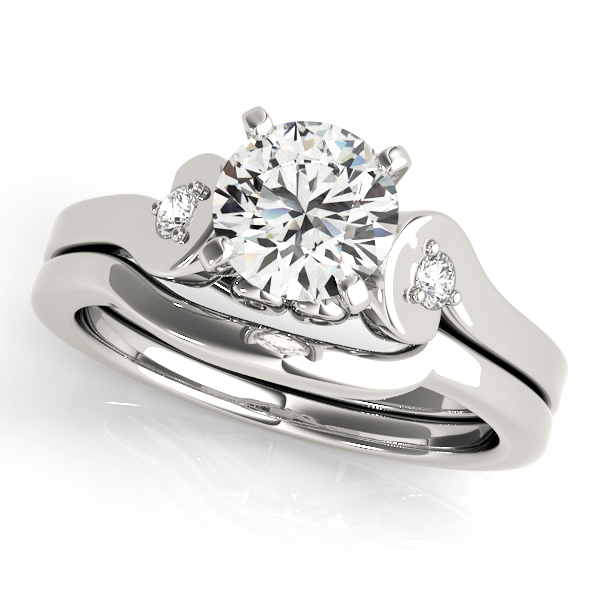 18K White Gold Three-Stone Engagement Ring Image 3  ,