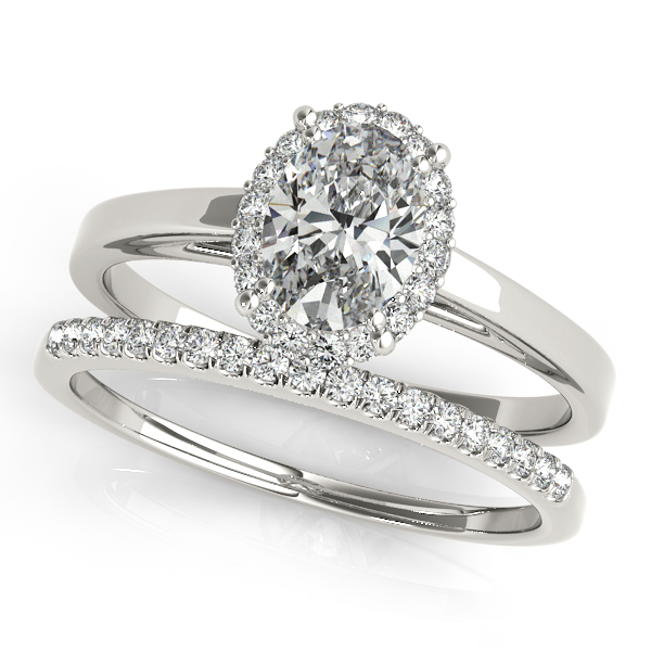 Platinum Oval Halo Engagement Ring Image 3  ,