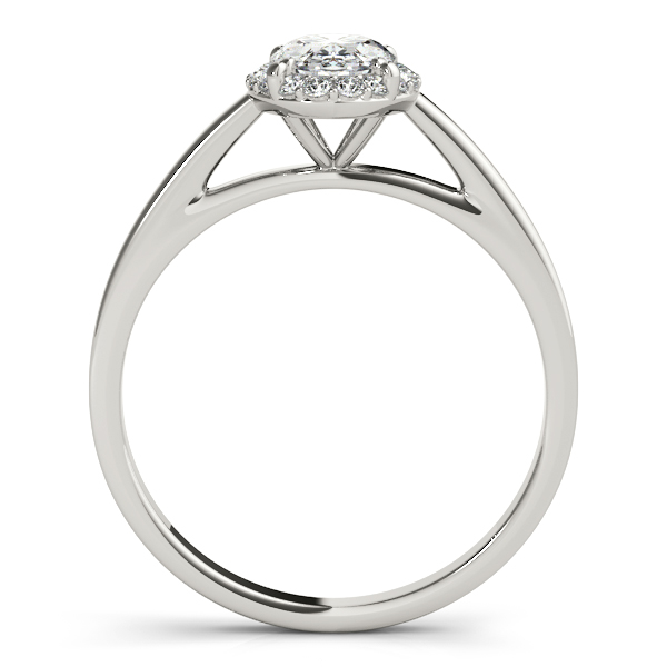 14K White Gold Oval Halo Engagement Ring Image 2  ,