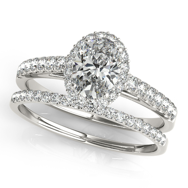 10K White Gold Oval Halo Engagement Ring Image 3  ,