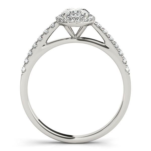 Platinum Oval Halo Engagement Ring Image 2  ,